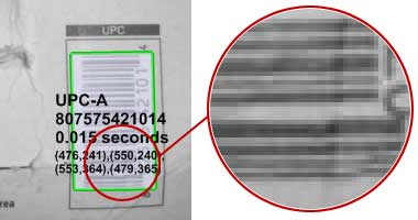 Decodes the low resolution barcodes