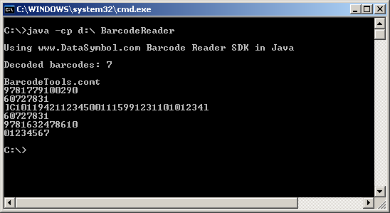 Java application as Barcode Reader
