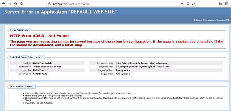404 error in IIS Internet Server when using datasymbol barcode decoding wasm, Web SDK