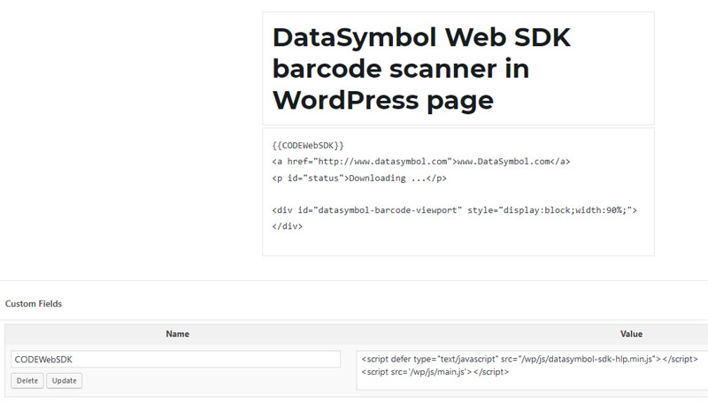 add new custom field to embed barode scanner in WordPress